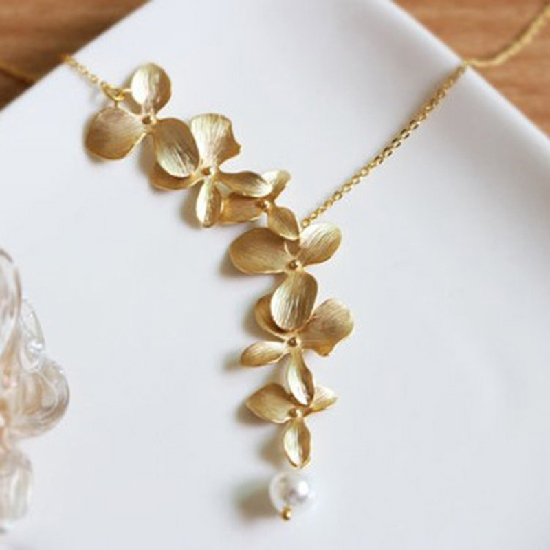 Orchid Trellis New Diamontrigue Jewelry: Gold Silver Orchid Flower Necklace Boho Chic Necklace