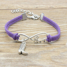Hand-knitted Hot Sale Unlimited Love Charm Simple Style Cowboy Boots Bracelet European American Fashion Jewelry Women Men Gift(China)