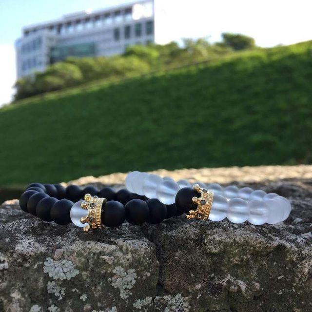 זוג צמיד קסמי אבן חרוזים גברים תכשיטי כתר צמידי לנשים Pulseira Masculina Bileklik Pulseira Feminina