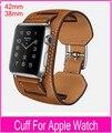 Novo 1:1 Original qualidade Cuff Bracelet Pulseira de couro Pulseira para Pulseira Cuff Apple faixa de relógio 42 mm 38 mm com placas de Metal