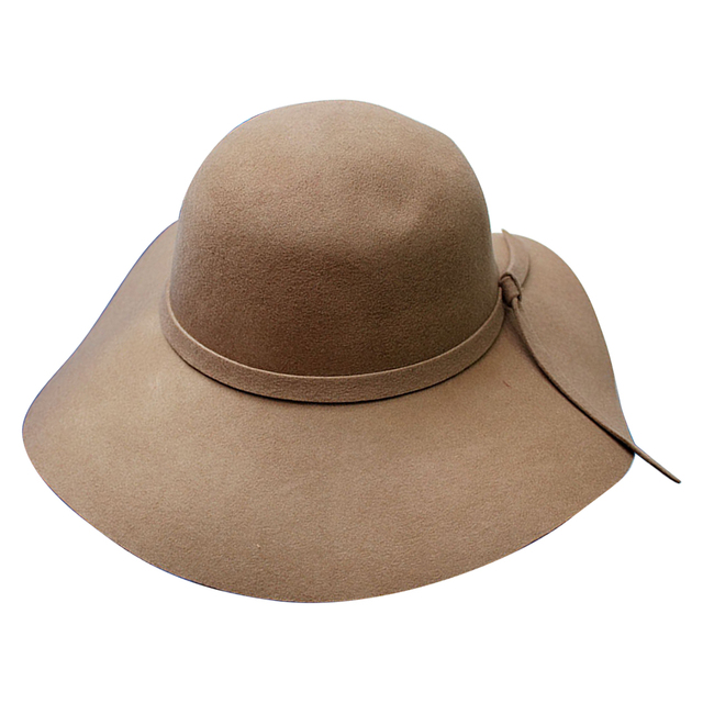 92f4c8e37 Fashion Floppy Hats Vintage Woolen-like Felt Hat Female Autumn Winter Waves  Large Brim bonnet Fedoras fedoras Hat