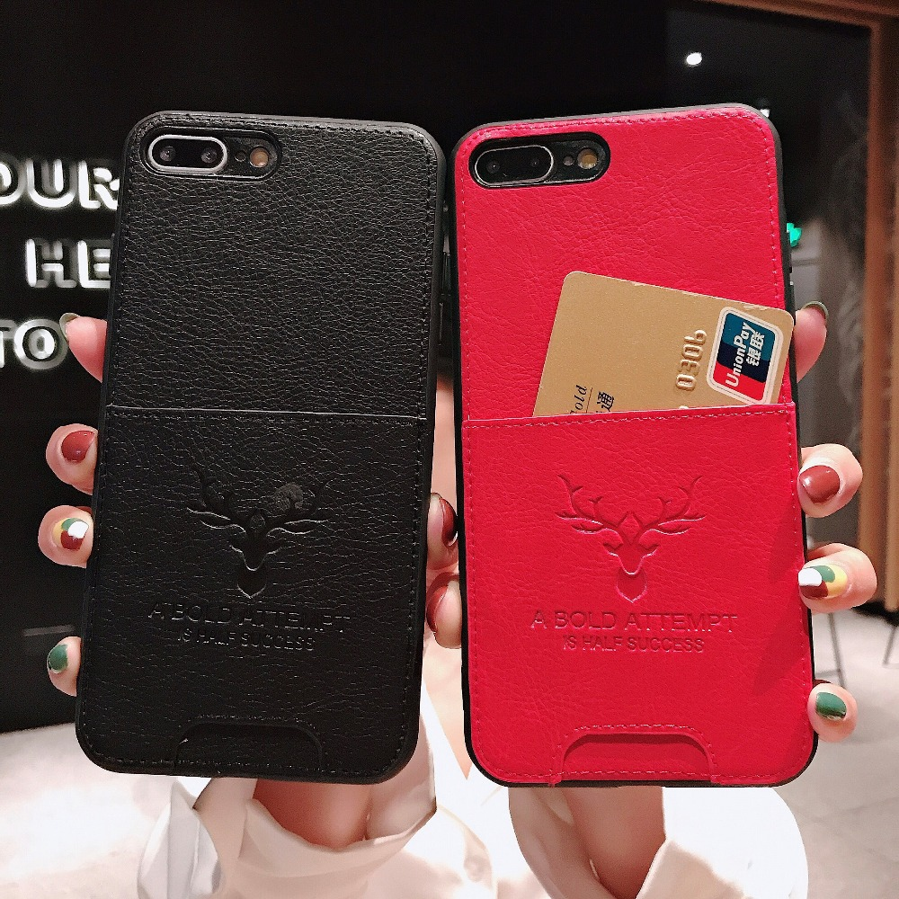 UYFRATE Slim Thin PU Leather Deer Credit Card Slot Holder Case Funda For iPhone 8 Plus 8 7 7Plus 6 6S 6 Plus X XS XR XS Max image