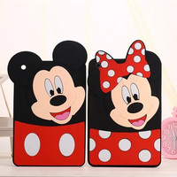 Cute Cartoon Monkey 3D Mickey Minnie Mouse Cover For IPAD Mini 1 2 3 Soft Silicone