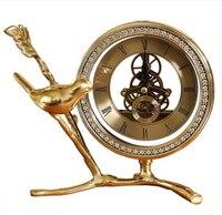 Американский чистой меди birdseat часы маятник европейской роскоши гостиная часы настольные Творческий Тихий Часы