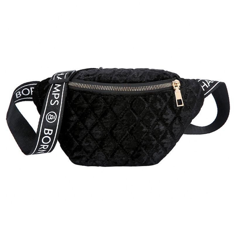 Women Velvet Plaid Fanny Pack Phone Pouch Zipper Shoulder Chest Bag Lady Multifunctional Waist Pack Crossbody Handbag in Waist Packs from Luggage Bags