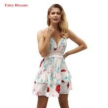 9fb67cb50 Verano Sexy vestido mujeres Backless flores impresión blanco y negro  bohemio Sundress Vestidos Mujer 2018 nuevo estilo Fairy Dre.