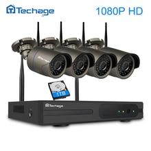 Techage 4CH 1080 P Беспроводной NVR CCTV системы 2MP ИК Открытый водостойкий Wi Fi камера P2P видеонаблюдения комплект 2 ТБ HDD