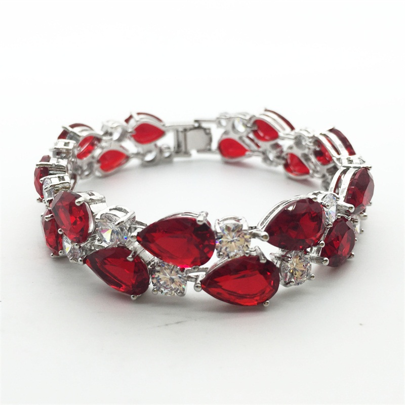 2015 New Brand High Quality Luxury Bracelets For Women Platinum Pleated Red Siam Cubic Zircon Bracelets