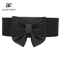 Wholesale Korean Ms Bow Super Wide Girdle Buckle All Match Simple Elastic Waistband Dress Accessories