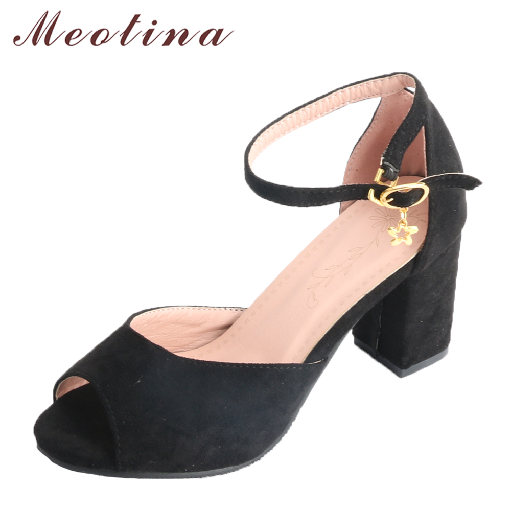 все цены на Meotina Women Pumps High Heels Ladies Summer Shoes Ankle Strap Peep Toe Buckle Shoes 2018 Spring Block Heels Big Size 33-43
