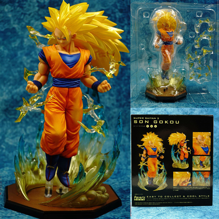 New 18cm Box Figuarts ZERO Super Saiyan 3 Son Goku PVC Action Figures Dragon Ball Z Collection Model DBZ Esferas Del Dragon Toy dragon ball z figures son goku vegeta trunks super saiyan figuarts zero anime dbz collectible model toys