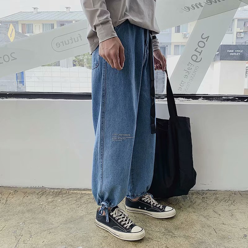 Wholesale 2020 Hong Kong Style Summer Retro Jeans Men's Beam Feet Loose Ankle Length Pants Teenagers Students Straight Jeans Men