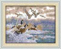 The Flying Birds In Snow Day Canvas DMC Counted Cross Stitch Kits Printed Cross Stitch Set