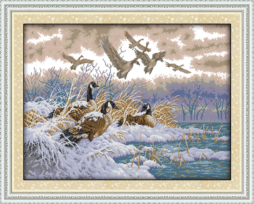The flying birds in snow day  Canvas DMC Counted Cross Stitch Kits printed Cross-stitch set Embroidery Needlework