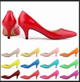 2016 Spring Autumn Wmens Kitten heel low heels work wear career office lady pointed toe casual patent leather pumps plus size 42