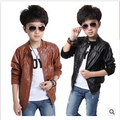 free shipping 2015 new boys coats faux leather jacket 2 colors kids fashion outerwear spring and autumn and winter  yyf-019