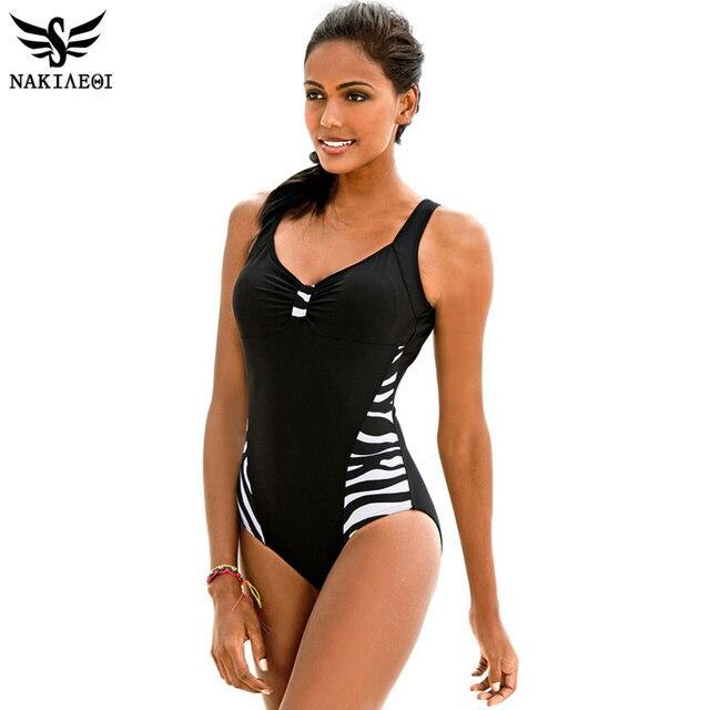 2851ab7258f NAKIAEOI 2019 Newest One Piece Swimsuit Women Bathing Suits Vintage Summer  Beach Wear Swim Suit Stripe Plus Size Swimwear 5XL