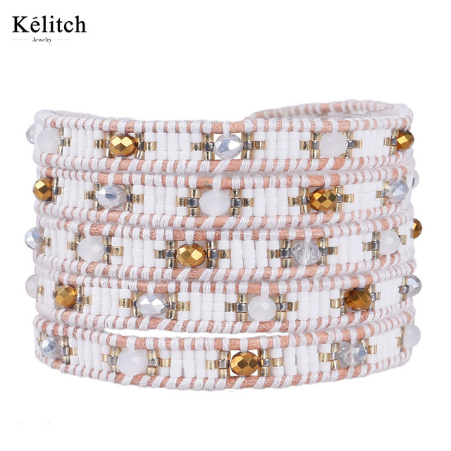 Kelitch Crystal Seed Beads Multilayers Leather Bohemia Summer Jewelry 1Pcs 5 Wrap Adjustable Strand Bracelets For Friends Gifts