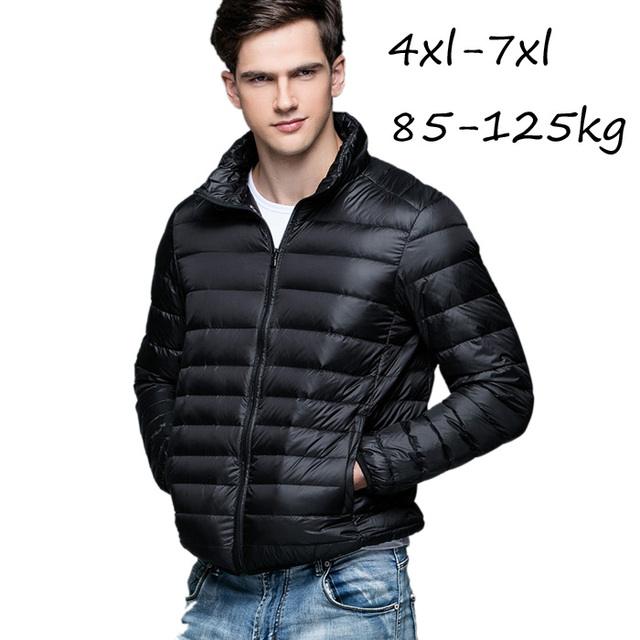 Plus size 4XL-7XL Winter Man Duck Down Jacket Ultra Light Plus Size Fat Men Winter Jackets Male Stand Collar Outerwear Coat