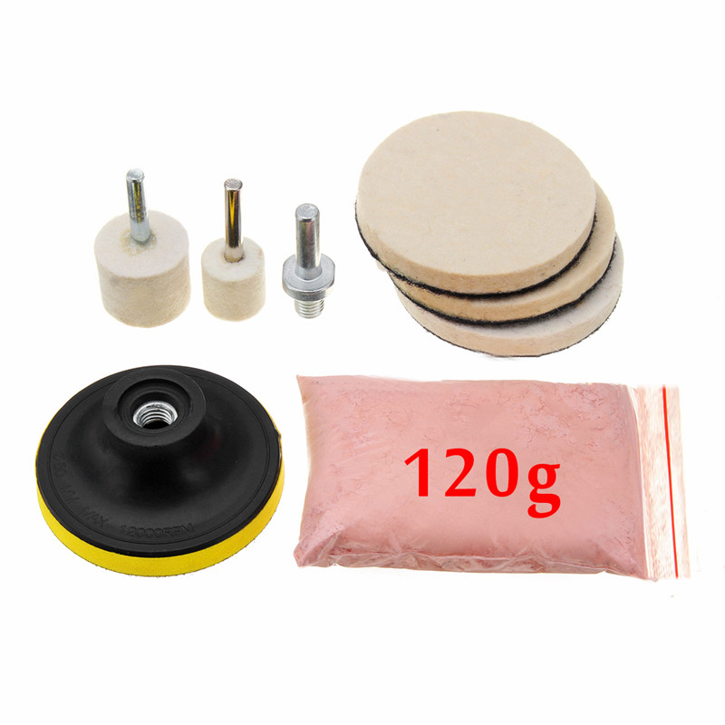 8Pcs 120g Cerium Oxide Glass Polishing Powder Kit For Deep Scratch Remover For Windscreen Windows Glass Cleaning Scratch Removal
