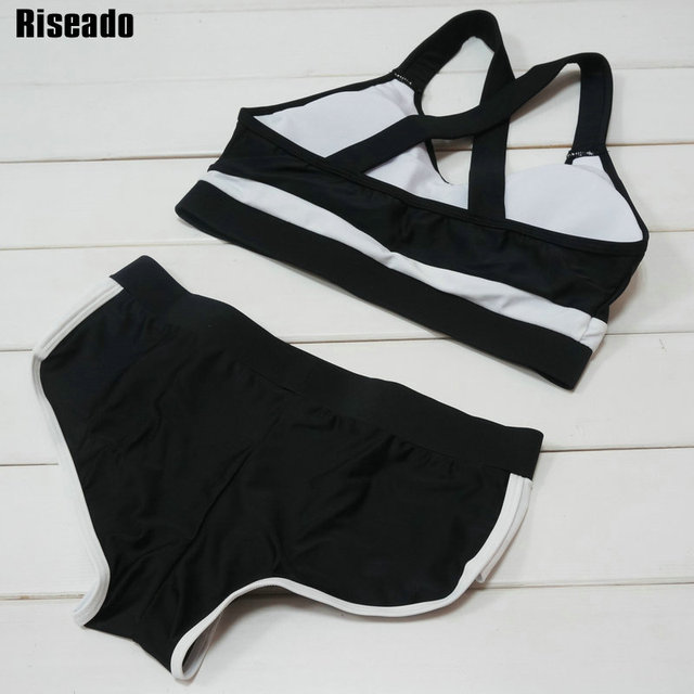 Riseado 2017 Cross Bandage Swimwear Women Summer Sport Swimsuit Top Padded Swimming Beach Wear Bathing Suits