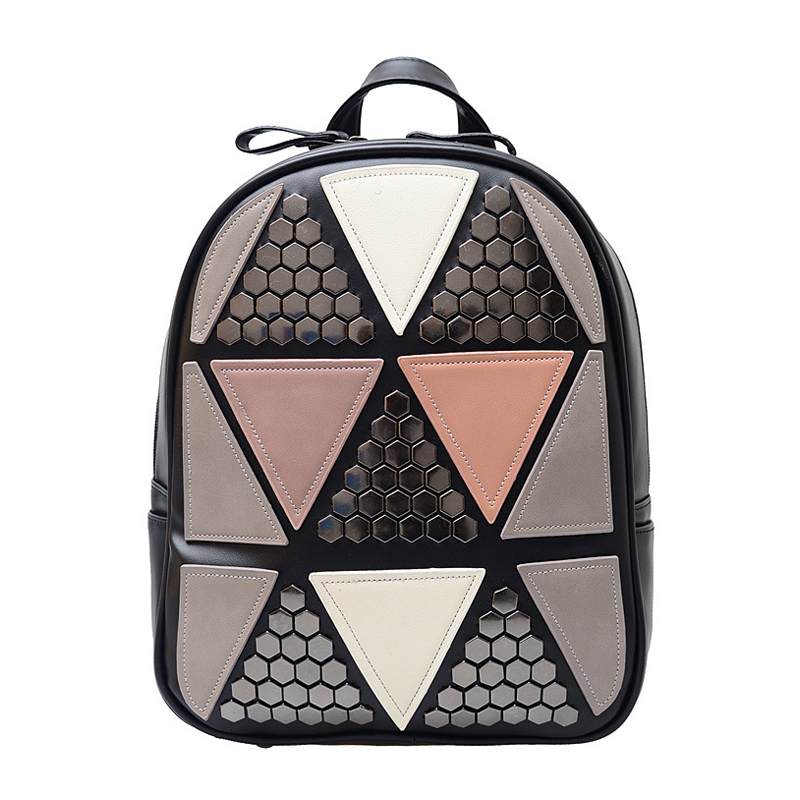 Famous Brand 2017 New Fashion Preppy Style Rivet Geometric Patchwork Rucksack Hotsale Ladies Travel Bag Student School Backpacks