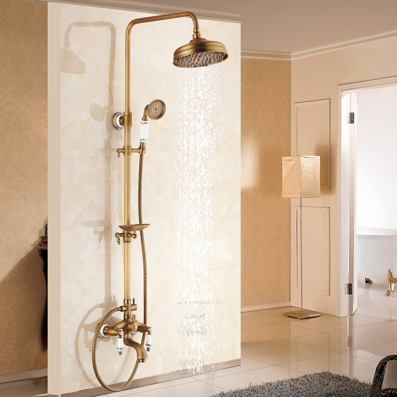 Antique Brass Shower Set Faucet 8 Rainfall Shower Head With Soap Dish Holder