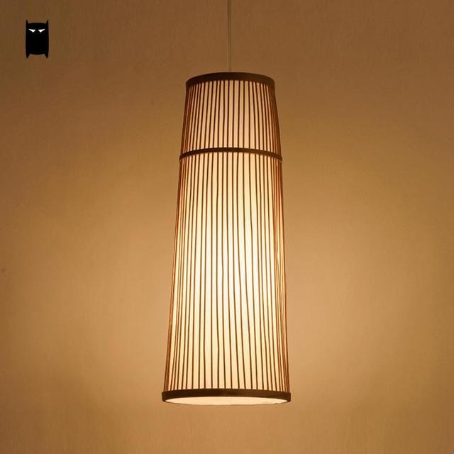 Langen Bambus Wicker Rattan Kafig Anhanger Leuchte Land Asiatische