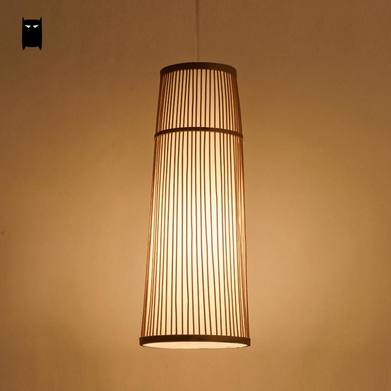Long Bamboo Wicker Rattan Cage Pendant Light Fixture Country Asian Chinese Japanese Suspension Lamp Foyer Dining Study Tea Room