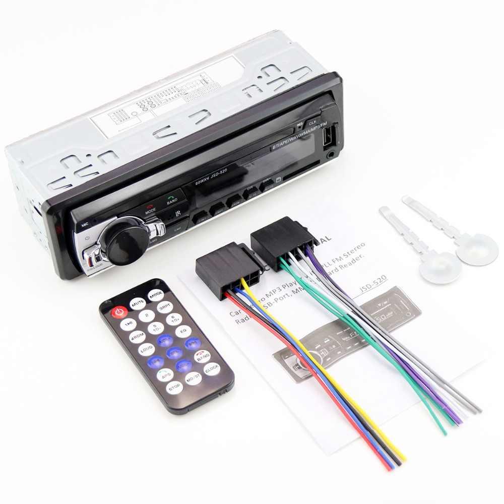 車ラジオ JSD-520 12 V Bluetooth ステレオインダッシュ 1 Din FM Autoradio Mp3/MP4 USB MMC WMA AUX TF プレーヤー oto teypleri