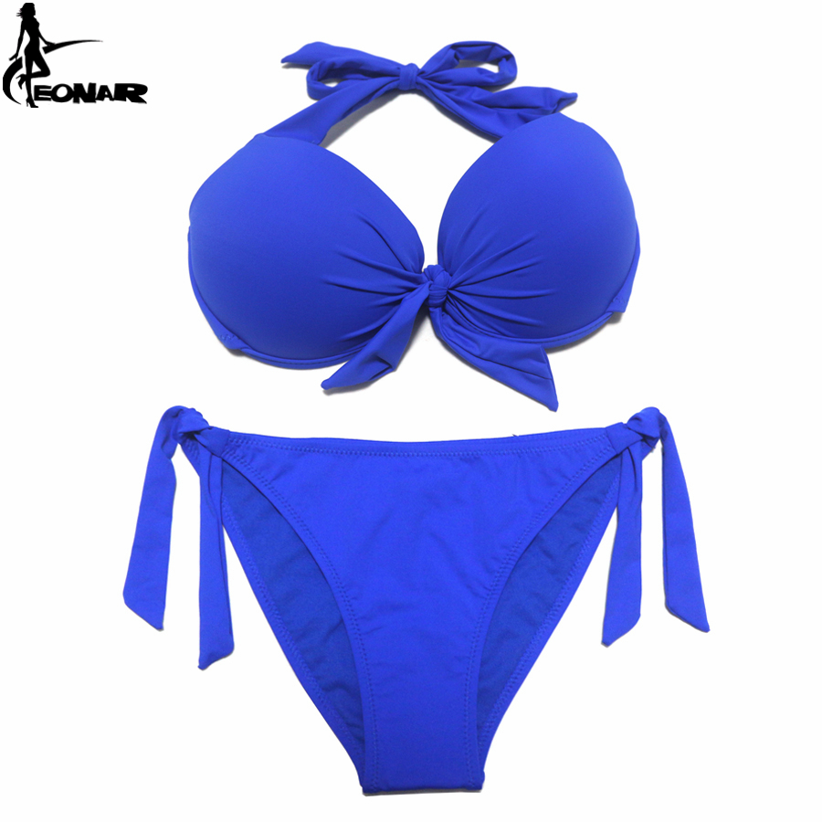 Image 5 - EONAR 2020 Bikini Solid Swimsuits Women Push Up Bikini Set Brazilian Cut/Classic Bottom Bathing Suits Sexy Plus Size SwimwearBikini Set   -