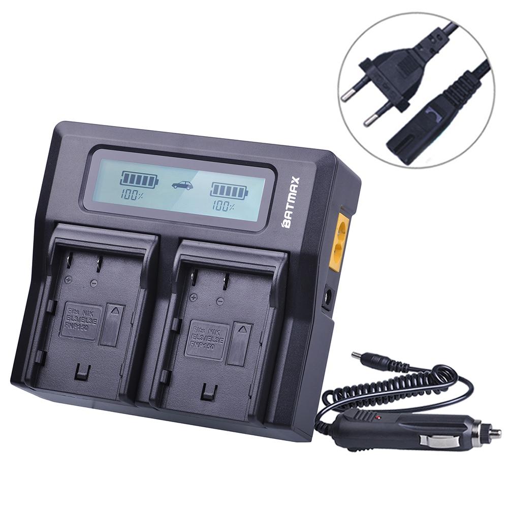 Batmax EN-EL3E EN-EL3A ENEL3E EN EL3A Rapid LCD Dual Charger for Nikon D50 D70 D80 D90 D100 D200 D300 D700 z1 2x 2200mah en el3e enel3e battery usb charger for nikon d90 d80 d300 d300s d700 d200 d70 d50 d70s d100 d 100 d 300 d 70 d 90 slr