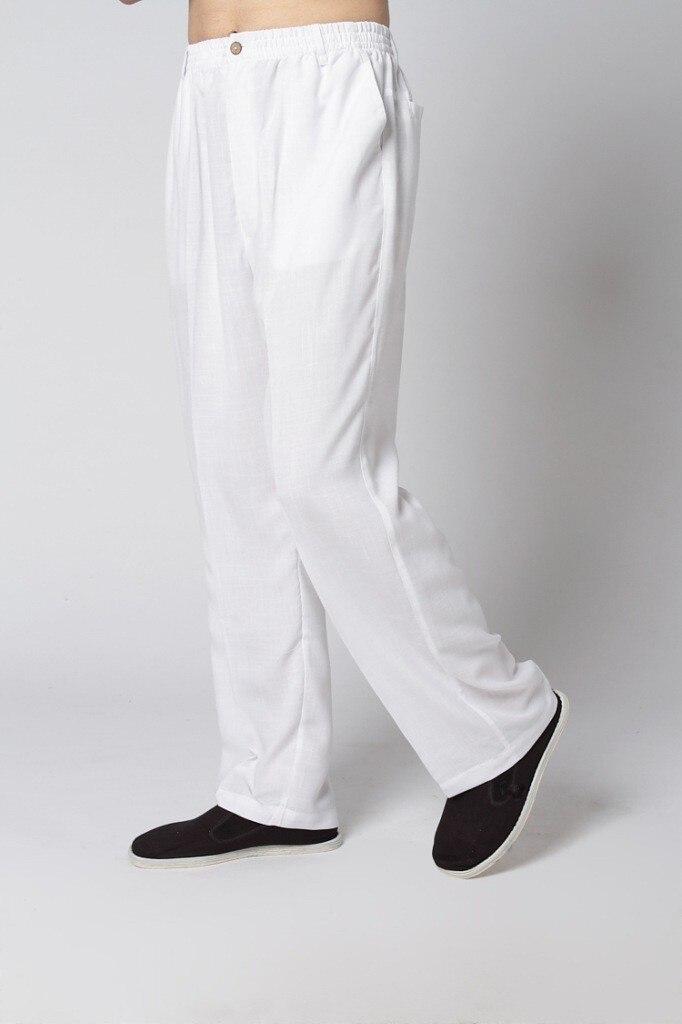 Vintage White Chinese Men Wu Shu Trousers Cotton Linen Tai Chi Pans Kung Fu Trousers Size S M L XL XXL XXXL MT002