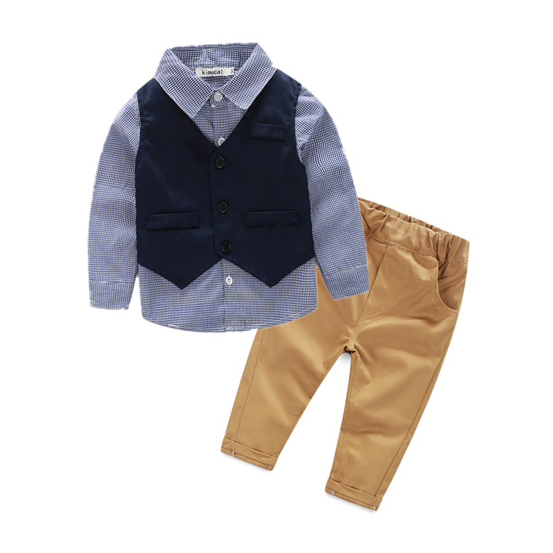 2016 Fashion Boys Clothes 2pcs baby boy clothing sets waistcoat plaid shirt pants wedding suit for