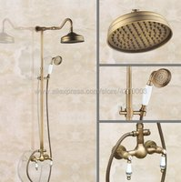 Antique Brass Shower Faucet 8 Rainfall Shower Head Dual Handles with Handshower Kan507