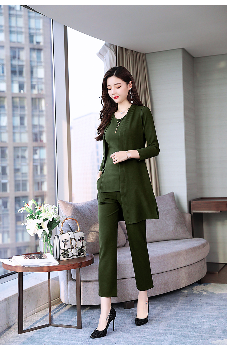 Spring Autumn 3 Piece Set Women Long Coat T-shirt And Pants Sets Casual Elegant Three Piece Sets Suits Women's Costumes 59