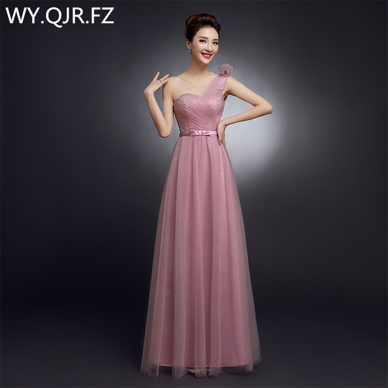SJZL80DJ # One épaule camée fleur marron longue robe de bal 2019 nouvelle coréenne soeur demoiselles d'honneur robes vêtements en gros