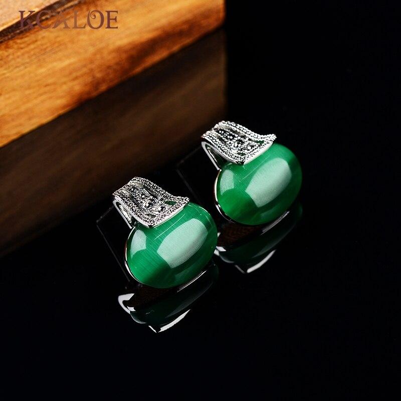 Aliexpresscom Buy KCALOE Green Opal Stud Earrings Silver Color