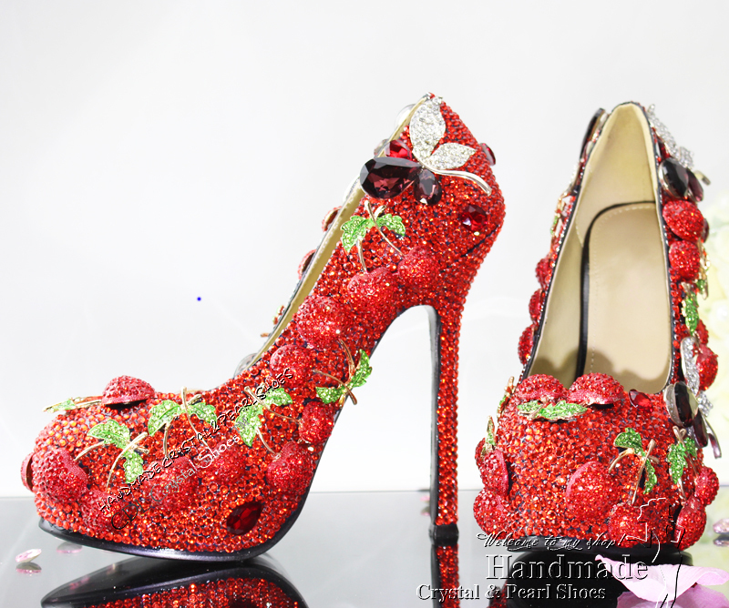 Red Wedding Shoes Custom Made Crystal Cherry Platform Pumps