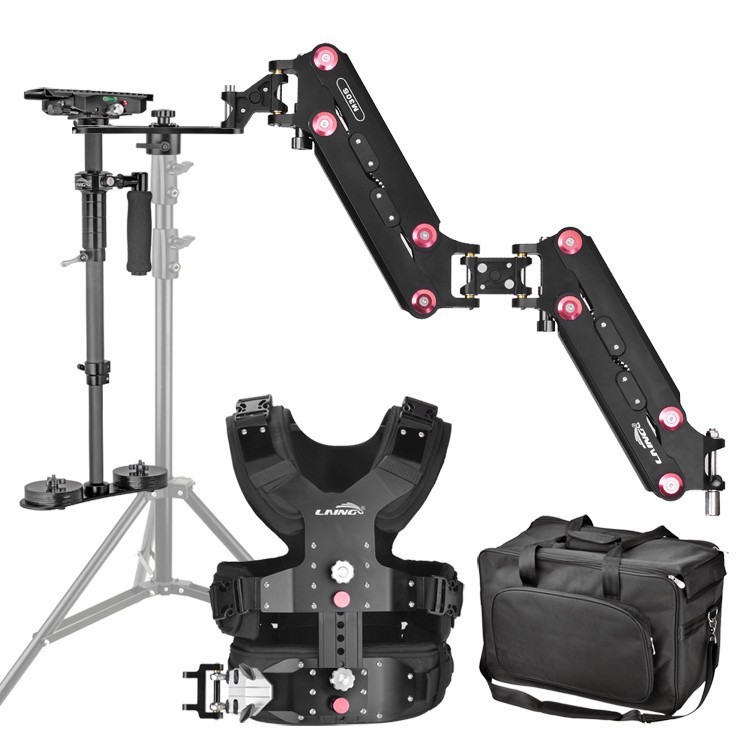 LAING 1-8KG Carbon Fiber Steadicam Stabilizer with Vest Arms Sled for DSLR Camera & Camcorder laing h5 mini carbon fiber handheld stabilizer with 6 17lb 2 8kg loading capacity for dslr cameras with bag and arm brace wrist
