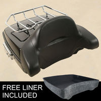 Motorcycle Chopped Tour Pak Trunk W/ Latch Luggage Rack + Backrest For Harley Touring 14 18 Road king glide FLHR FLHX FLTR