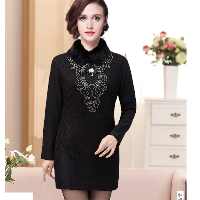 Winter Thick Warm Faux Fur Collar Dress 2018 Spring Tunic Embroidery Vintage  Female Casual Women Dress Blue Red Green XL~4XL-in Dresses from Women s ... 8911544fbb59