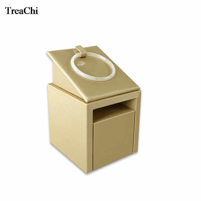 Luxury 15.5 ซม.GOLD PU สร้อยข้อมือเครื่องประดับทาวเวอร์ไม้กำไลข้อมือหยกเครื่องประดับ Display Storage นิทรรศการผู้ถือ