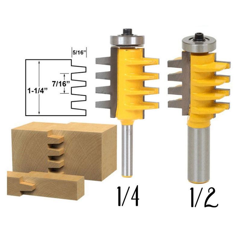 Ferroviário Reversível Finger Joint Cola Ferramentas De Poder de Corte de Madeira Router Bit Cone Espiga-1/2