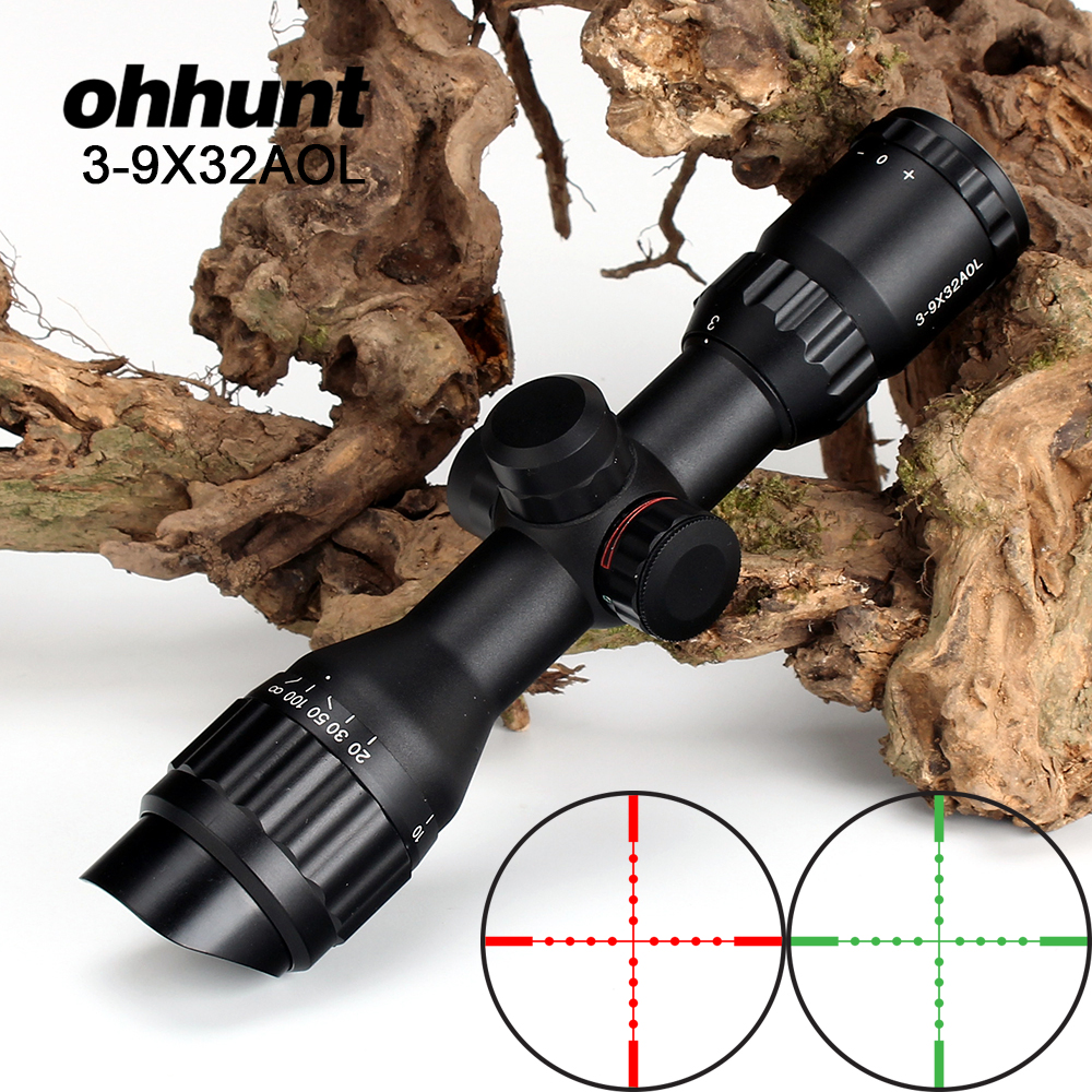 ohhunt 3-9X32AOL Hunting Riflescope Red Green Illuminated Tactical Optical Sights Mil-dot Wire Reticle Compact Shooting Scope tactical hunting shooting riflescope optical 3 9x32 aolwq 1inch tube mil dot compact with sun shade and qd rings for hunting