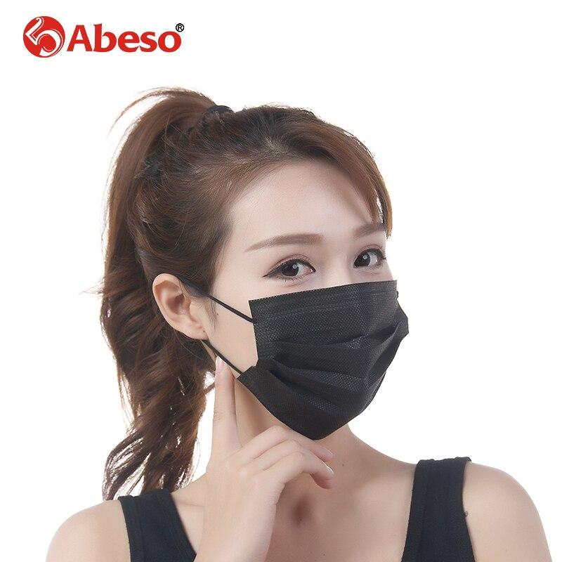 Abeso 50 Pz/pacco Usa E Getta Non Tessuto Black Face Mask 4 Strati Medical Earloop Respiratore Dentale Outdoor Anti-influenza Polvere Chirurgico Aspetto Attraente