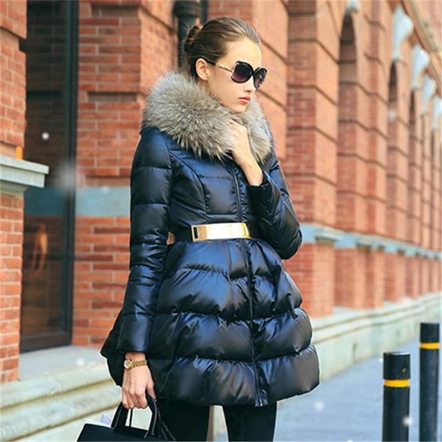 Down coat 2018 Doudoune femme New Luxury Fur Collar Womens down jacket Black/Red/Blue  Size S-XXL  Winter coat women 2