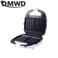 DMWD Mini sandwich maker Electric Waffle Iron Machine Bubble Egg Cake Oven Bread Muffin Donut Breakfast Toaster 9 Optional Plate
