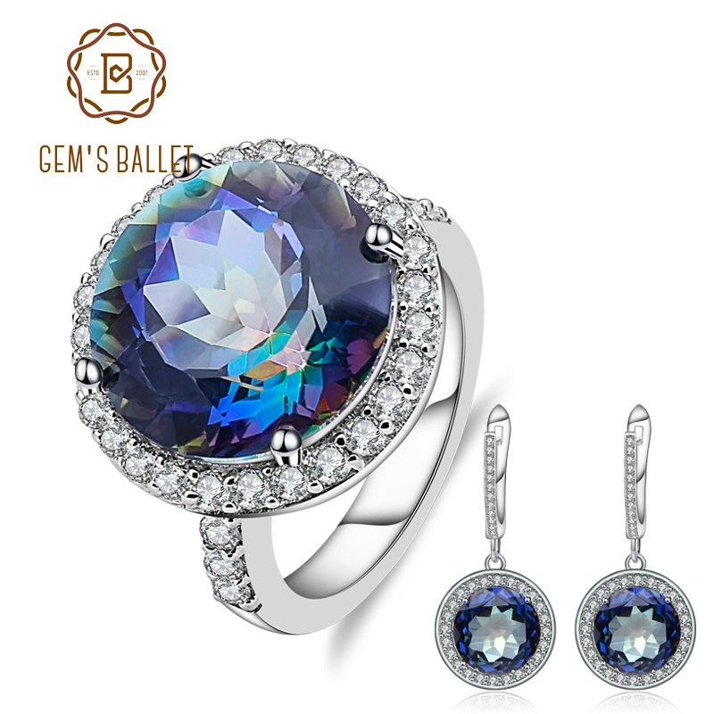 GEM'S BALLET 8.51ct Round Noble Natural Blueish Mystic Quartz Jewelry Set 925 Sterling Silver Earrings Ring Set For Women Fine