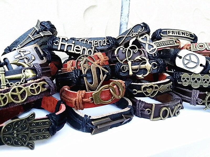 Großhandel groß viele 100 stücke gemischt stile vintage legierung leder Ethnische Tribes manschette armbänder-in Manschette Armbänder aus Schmuck und Accessoires bei  Gruppe 2